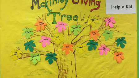"""Thank you to everyone who """"Took a Leaf and Helped a Kid"""". If you were not able to do this before the holiday break, but would like to help, the Giving Tree will remain up for the first week of school. Please hand your gift cards in at the office...."""